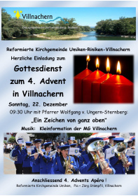 Gottesdienst 4. Advent 22.12.2019<div class='url' style='display:none;'>/</div><div class='dom' style='display:none;'>ref-umiken.ch/</div><div class='aid' style='display:none;'>191</div><div class='bid' style='display:none;'>1743</div><div class='usr' style='display:none;'>32</div>